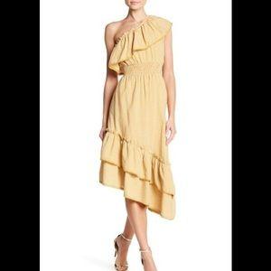 NSR One Shoulder Gingham Asymmetrical Dress $92